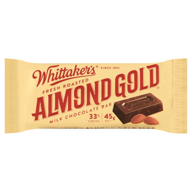 Chocolate Whittakers Fresh Roasted Almond Gold Chocolate Bar 135g