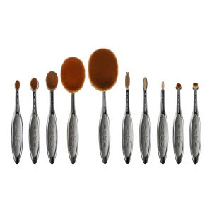 Full face oval makeup brush set