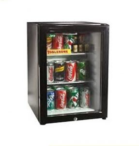 Silent mini fridge with glass door