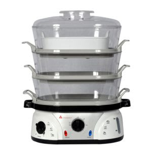 Food steamer with timer and keep warm function
